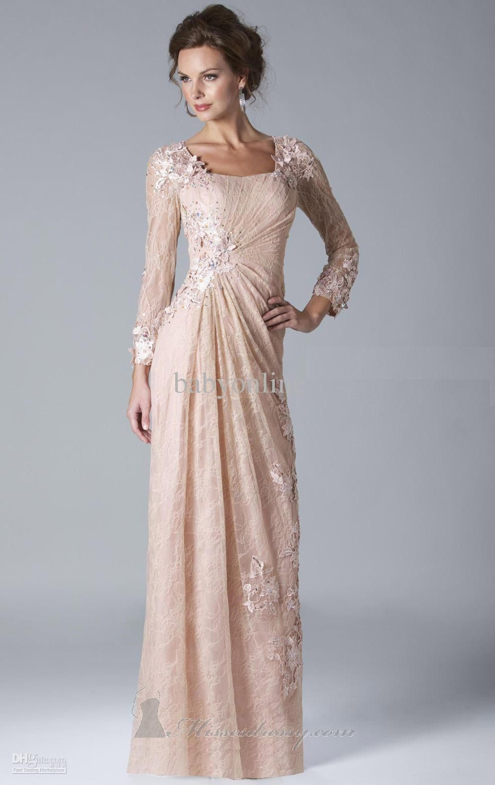 eec0dcc646e Sexy Lace Evening Dresses Long Sleeves Beaded Mother Of The Bride Dresses  w034