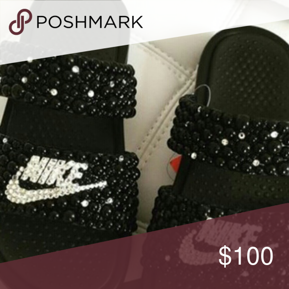 Double strap duo nike bling slides Double strap duo nike bling slides pearl  amd swarovski crystals