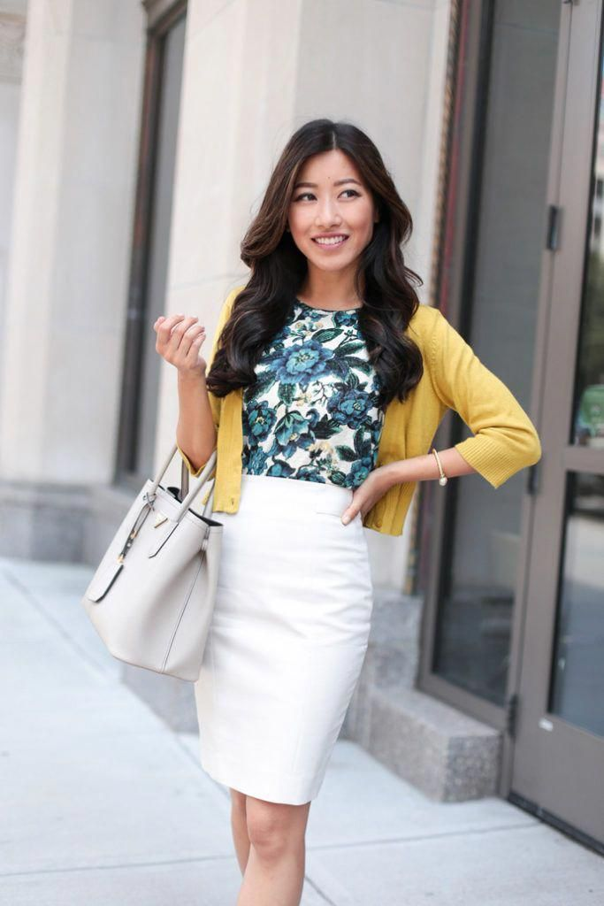 c24492a0a24 colorful professional outfit for work    floral top + cardigan + pencil  skirt by extra petite fashion blog  womensfashionforwork