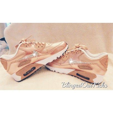 new styles 2a2b3 b0755 Chaussures De Sport Nike Air Max 90 Cristaux Swarovski Femmes Rose Or 60%  Off