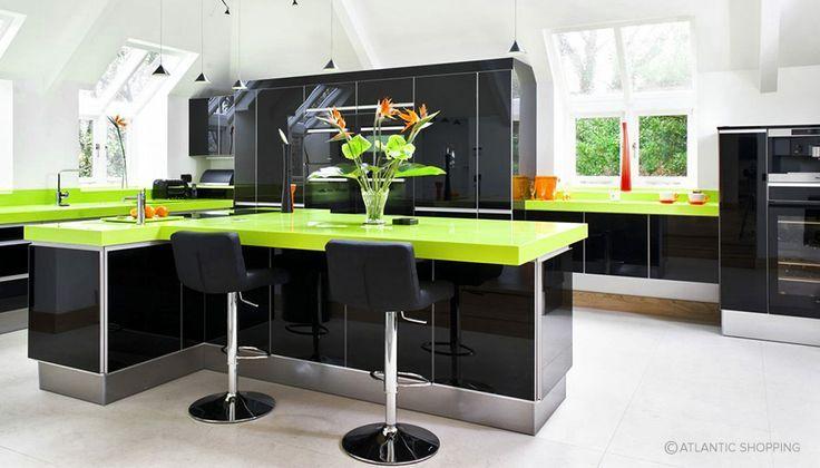 Kitchen Design Using Black And Lime Green Interiors Alongside Lattice Bar Stools