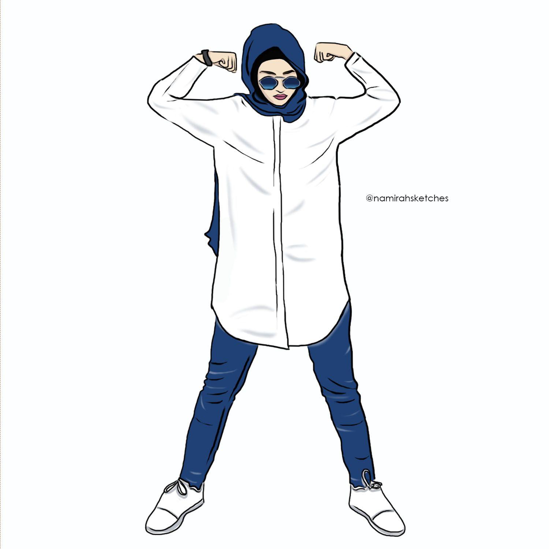 Illustration Strong Girl Kartun Gambar Hijab