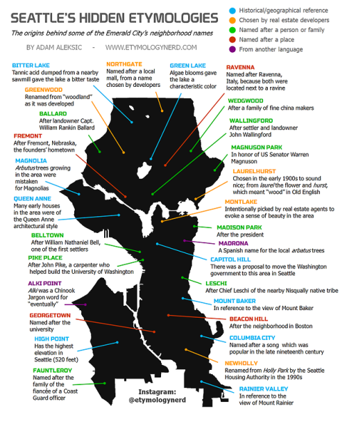 Seattle\'s Hidden Etymologies | Maps | Seattle neighborhoods, Map ...