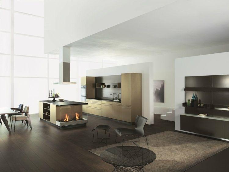 Moderne Kochinsel mit Feuerstelle von Alno | Küchen / Kitchens ...