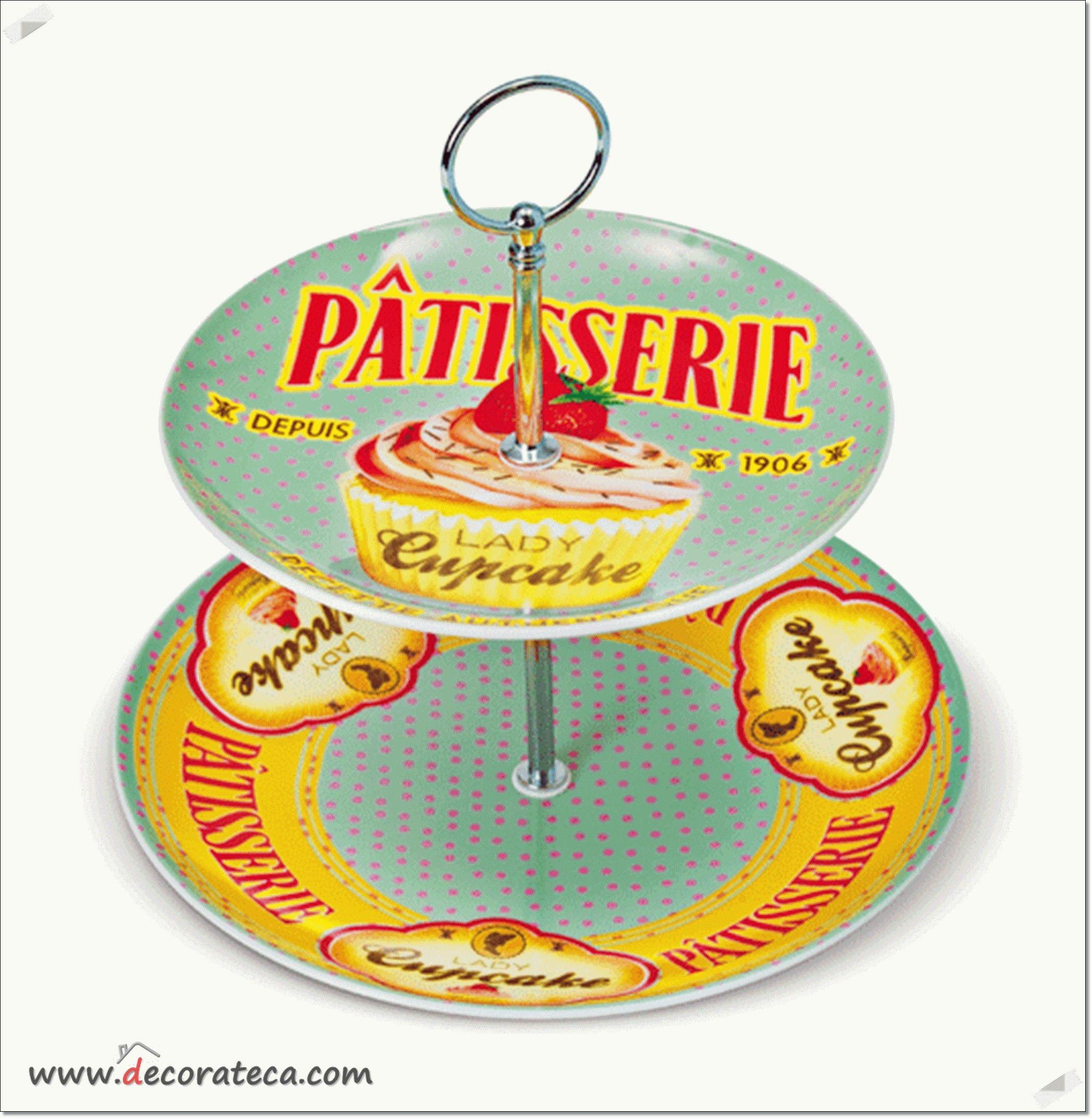 """Bandeja para cupcakes de 2 pisos """"Pâtisserie"""". Decoración de cocinas vintage / retro - DECORATECA.COM"""