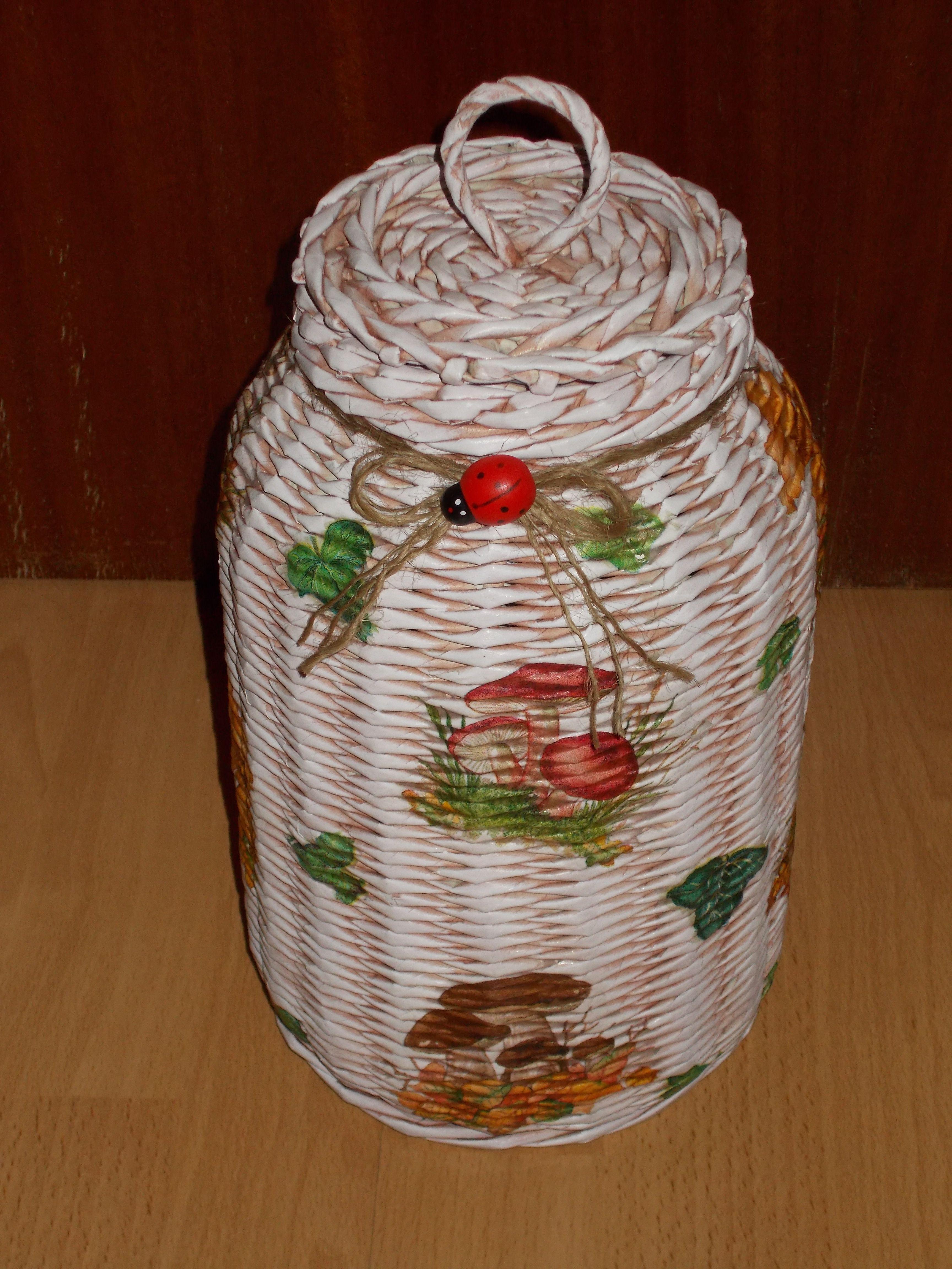 Frasco en mimbre para guardar lo que quieras artesania - Reciclar cestas de mimbre ...