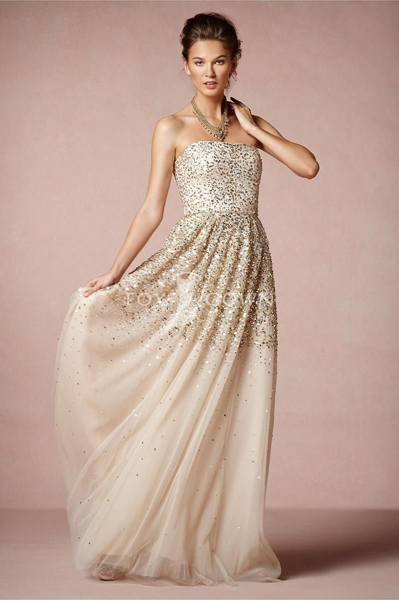 Unique Super Affordable dress site strapless sprinkling wedding gown with gold and silver sequins