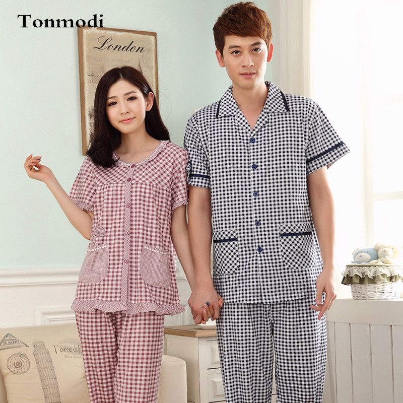 58755ff0e2 Summer Couple Pajamas Sets Men Women Cotton Sleepwear Plaid Short Sleeves  Pyjamas Trousers Lovers Cotton Pajama