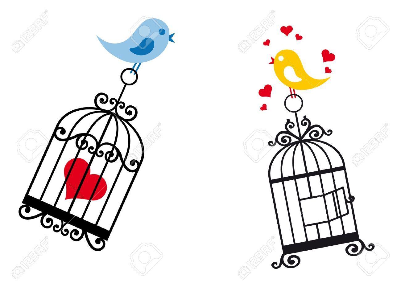 Stock Vector | davetiye | Cage tattoos, Love doodles, Love birds