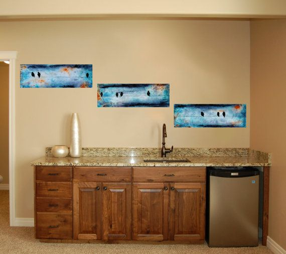 Birds on a Wire Three Panel Original Painting by sheriwiseman, $169.00
