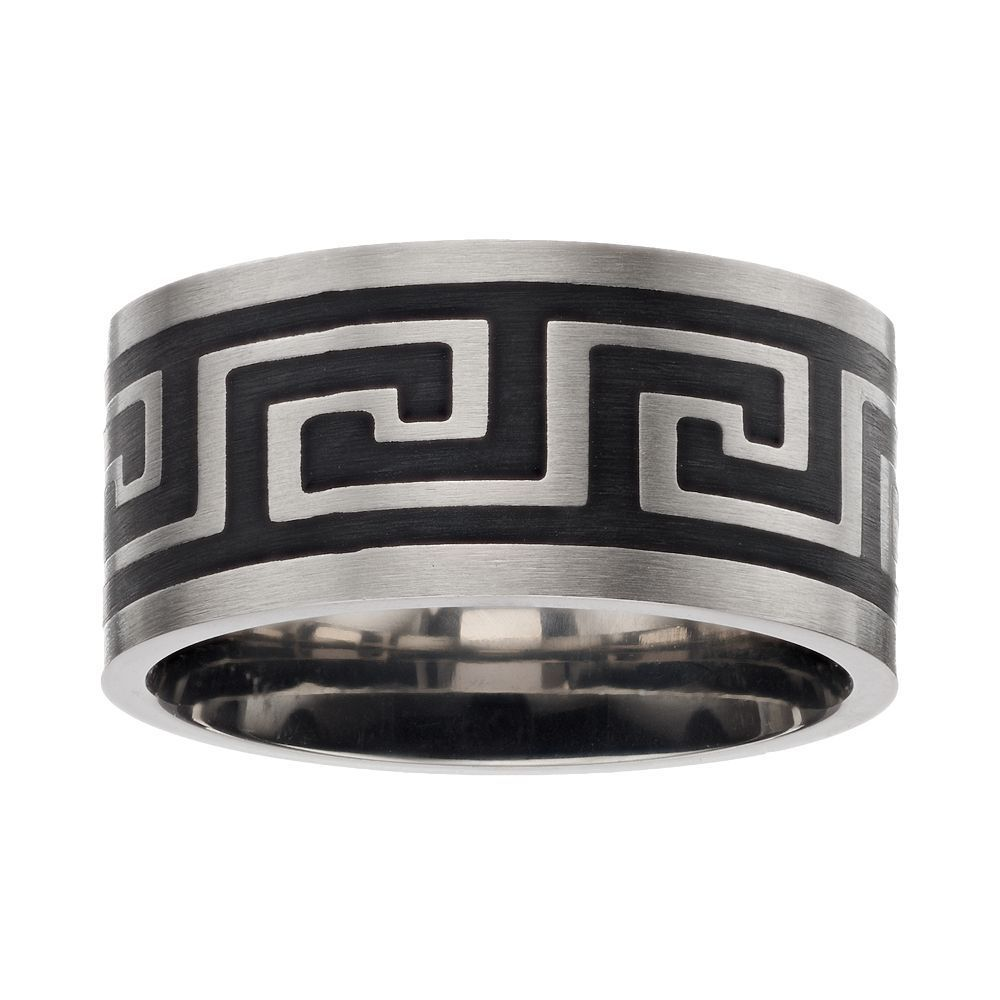 Menus two tone stainless steel greek key band size grey