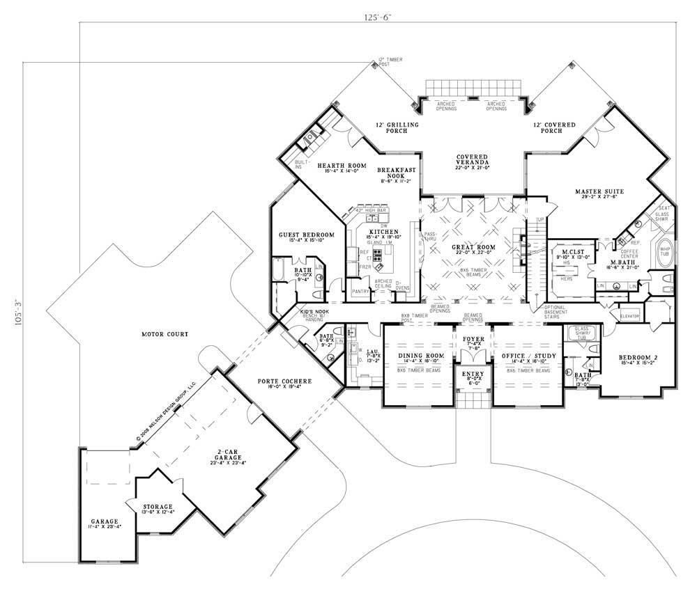 Floor plan first story porte cochere and porches home for Luxury house plans online