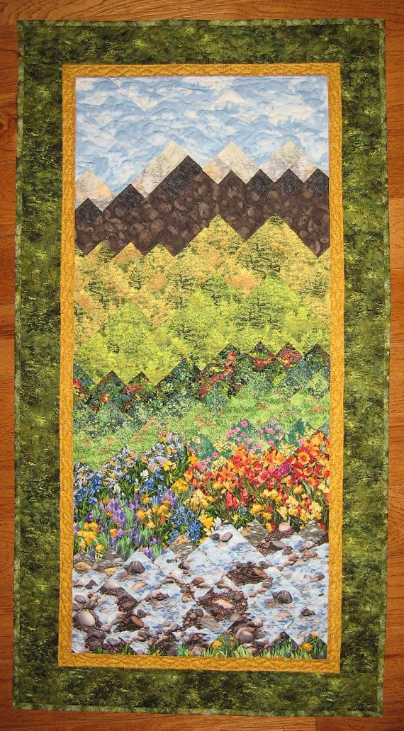 Tahoe Summer Fall Trees , Flowers Mountain Art Quilt , Fabric Wall ...