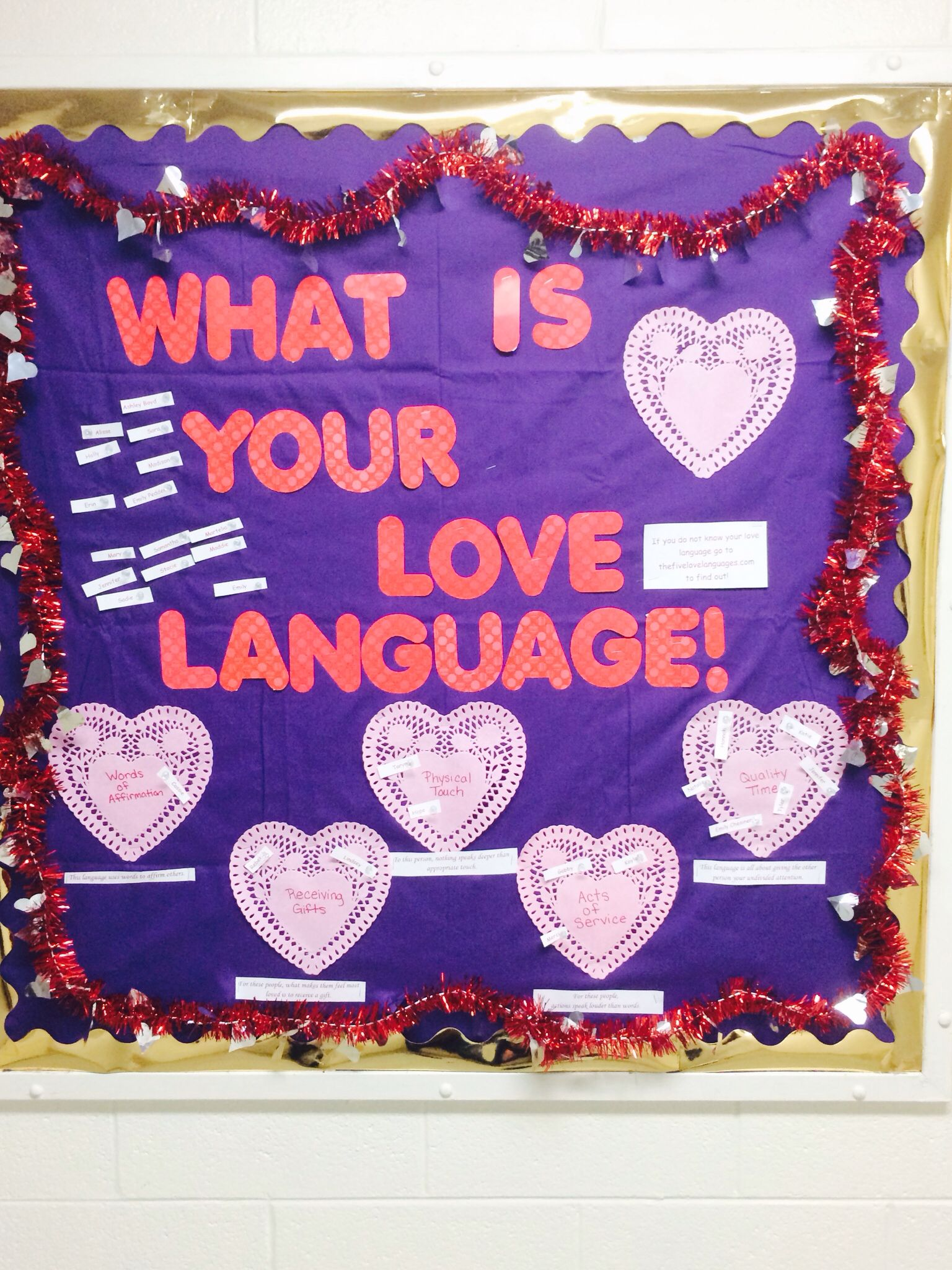 What Is Your Love Language Bulletin Board