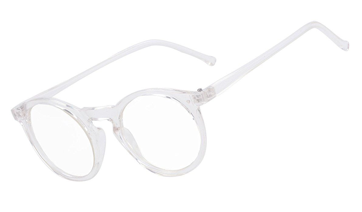 Amazon.com: Beison Horn Rimmed Round Eyeglasses Frame Plain Glasses ...