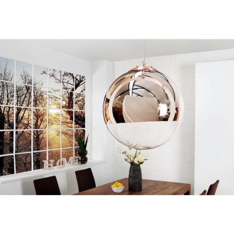moderne hanglamp globe 40cm koper