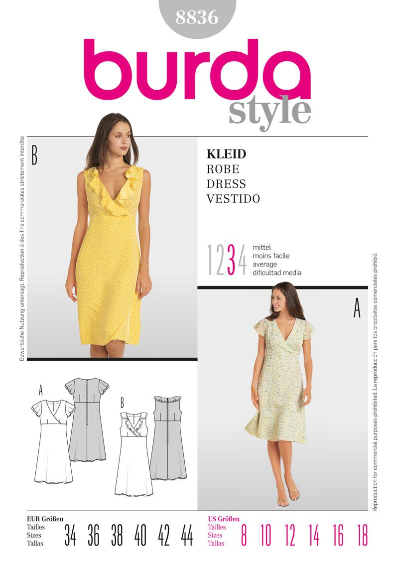 Burda Style 8836. Cute option: printed top with solid pencil skirt ...