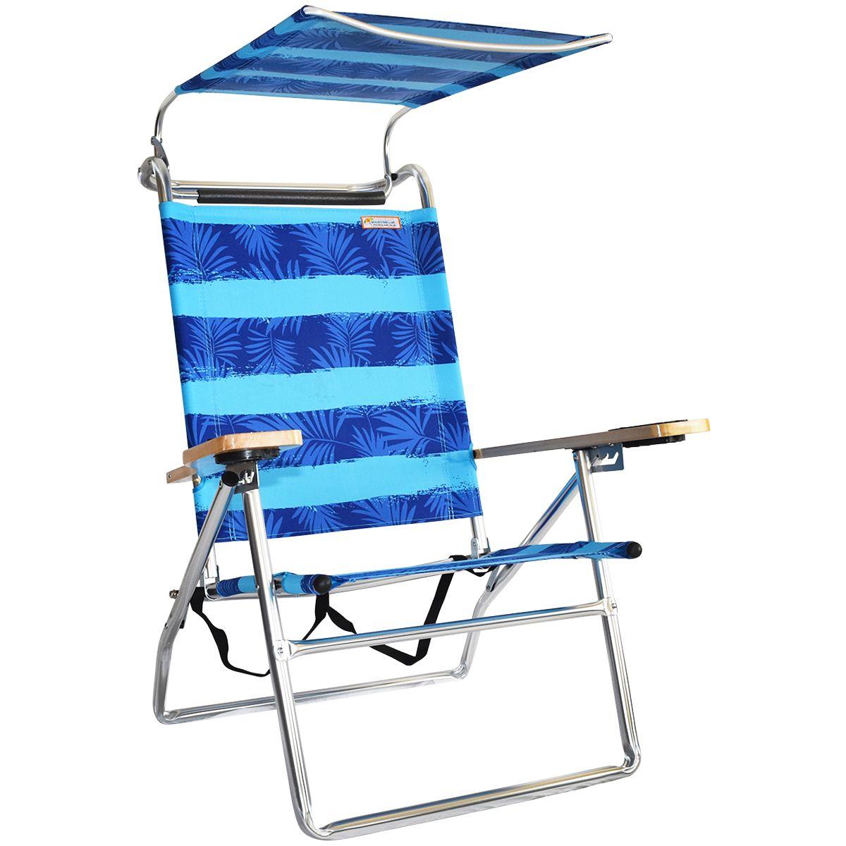 Canopy Hi Seat Aluminum Beach Chair Blue Fern Canopy