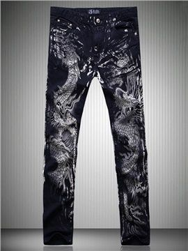 Floral Printed Straight Men's Full Length Jeans