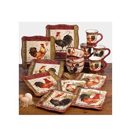 Beautifully Hand Decorated 16 Piece Ceramic Tuscan Rooster Dinnerware Set of 4  sc 1 st  Pinterest & Beautifully Hand Decorated 16 Piece Ceramic Tuscan Rooster ...