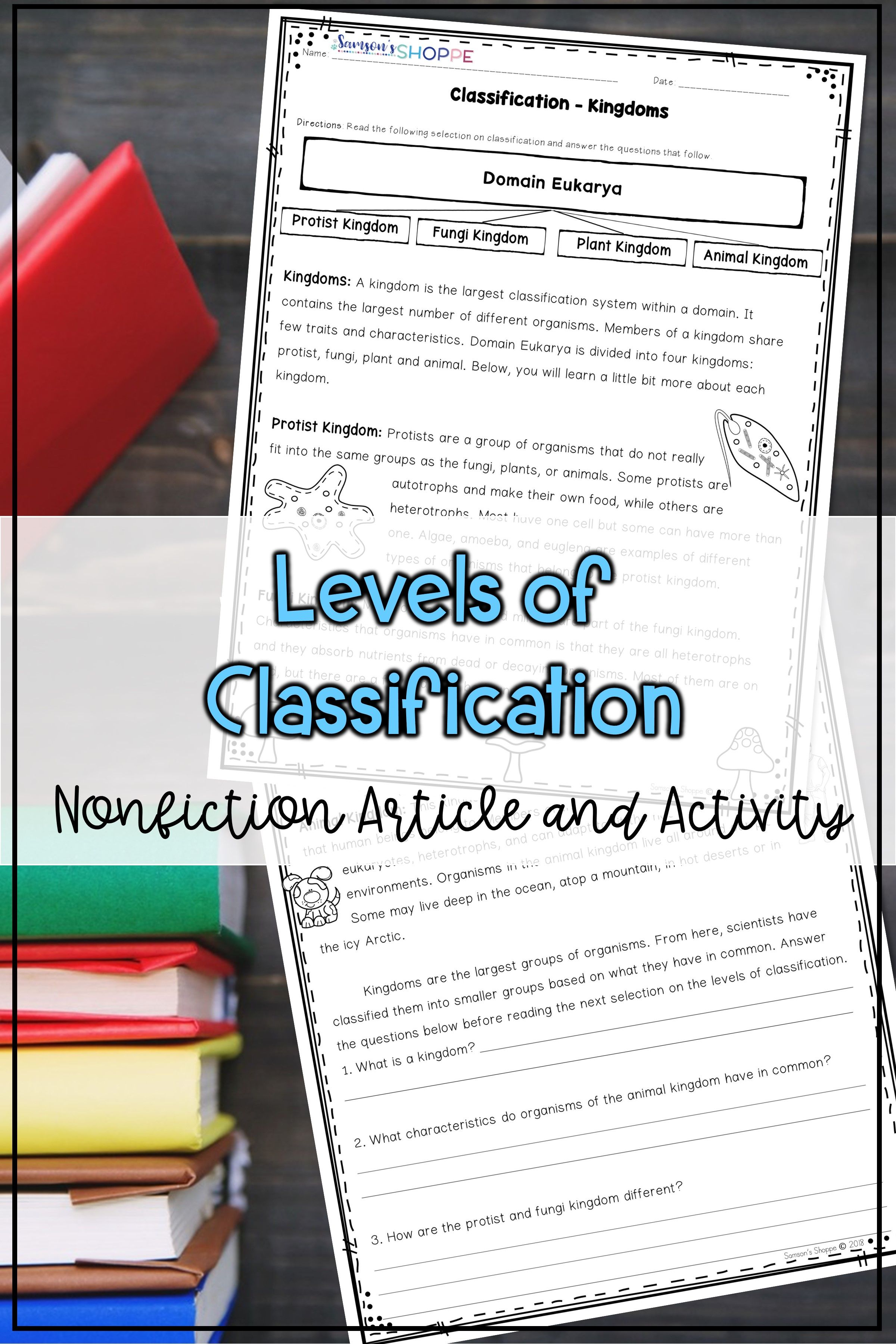 Classification And Taxonomy Printable Nonfiction Article