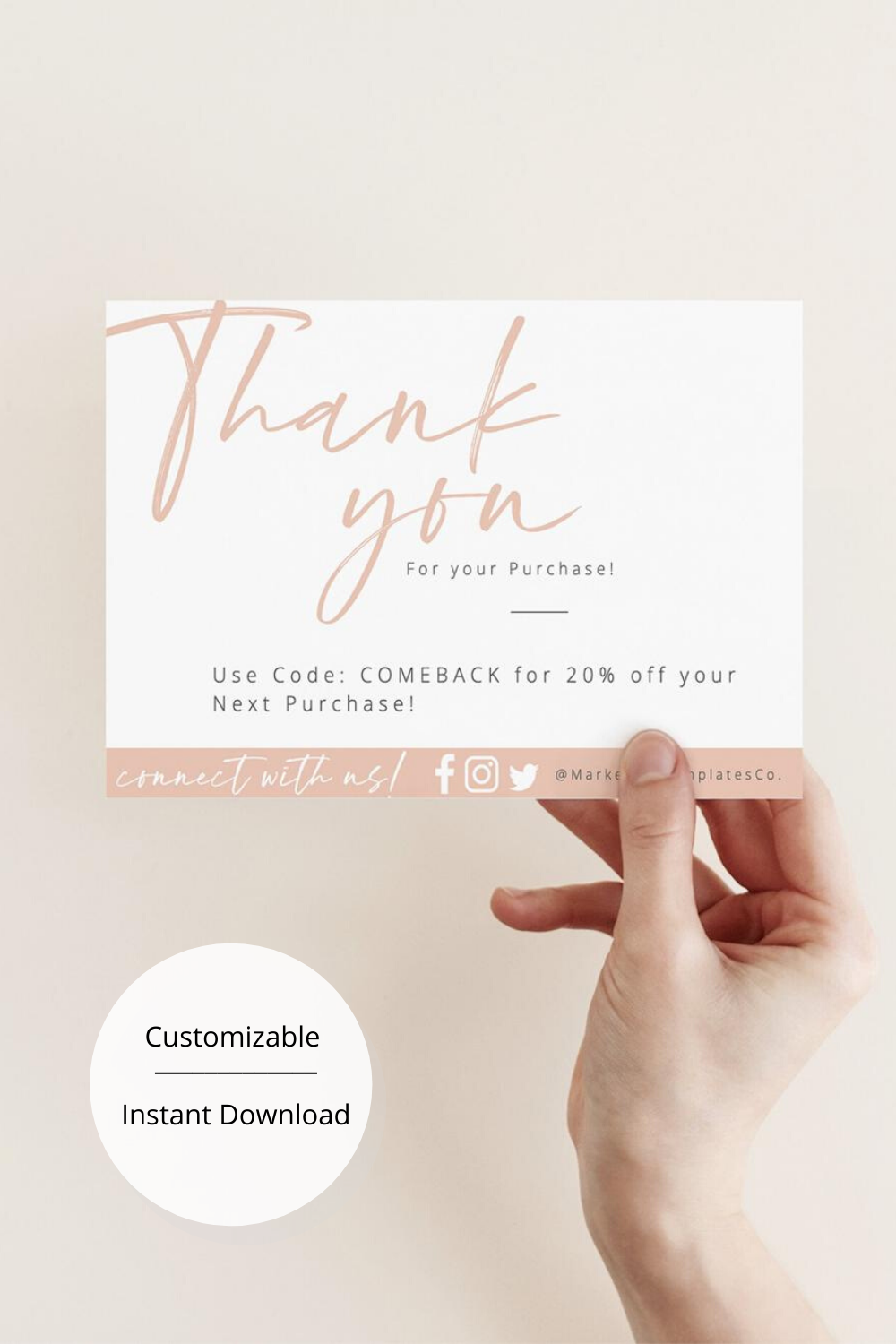 Diy Thank You For Your Order Cards Business Thank You Cards Package Insert Cards Small Business Thank You Blush Pink Instant Download Small Business Cards Thank You Card Design Business Thank