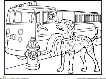 Dalmatian Coloring Page | Dalmatian, Puppy crafts, Fire ...