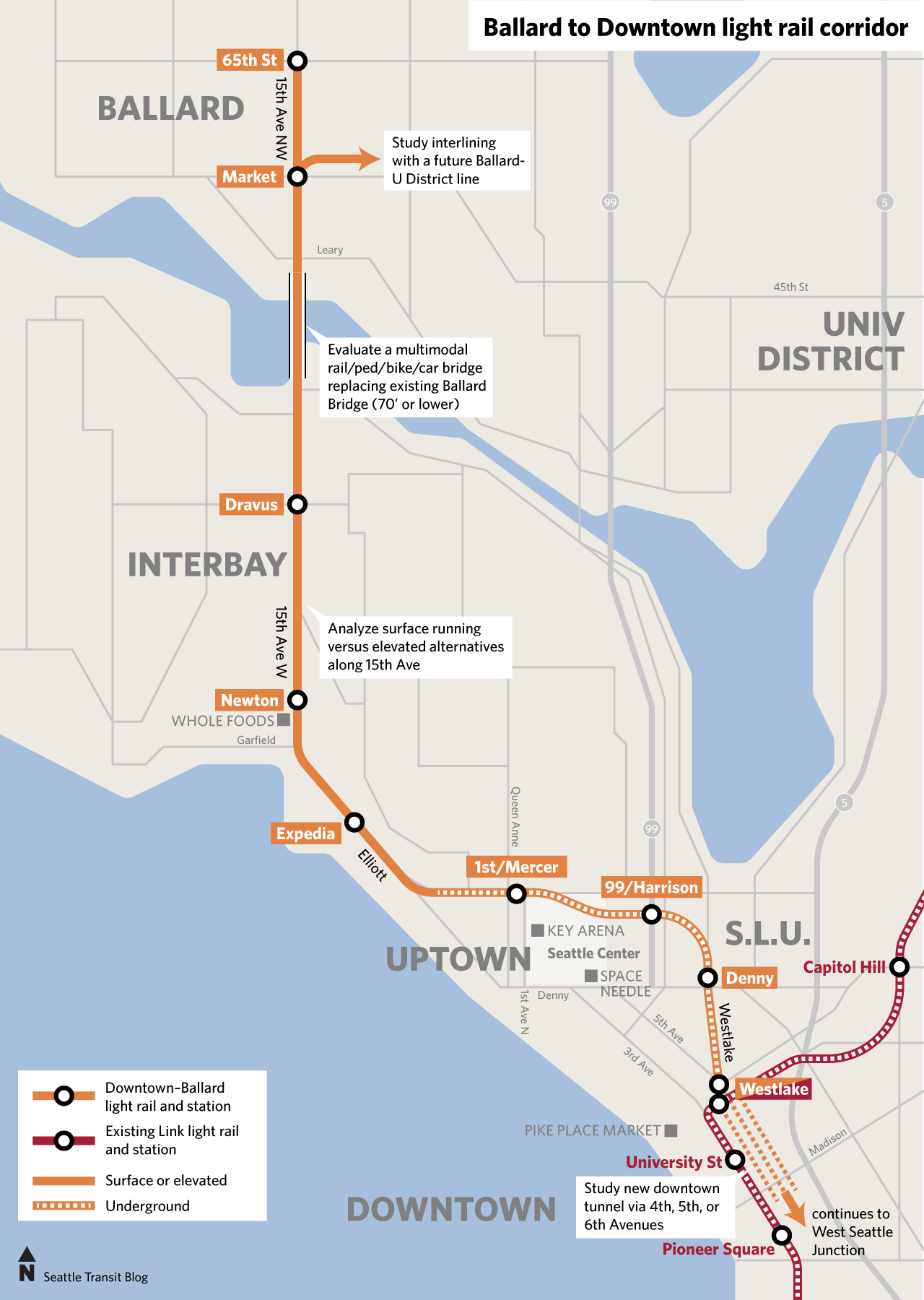 Heres a visualization of the Ballard rail route from one of the