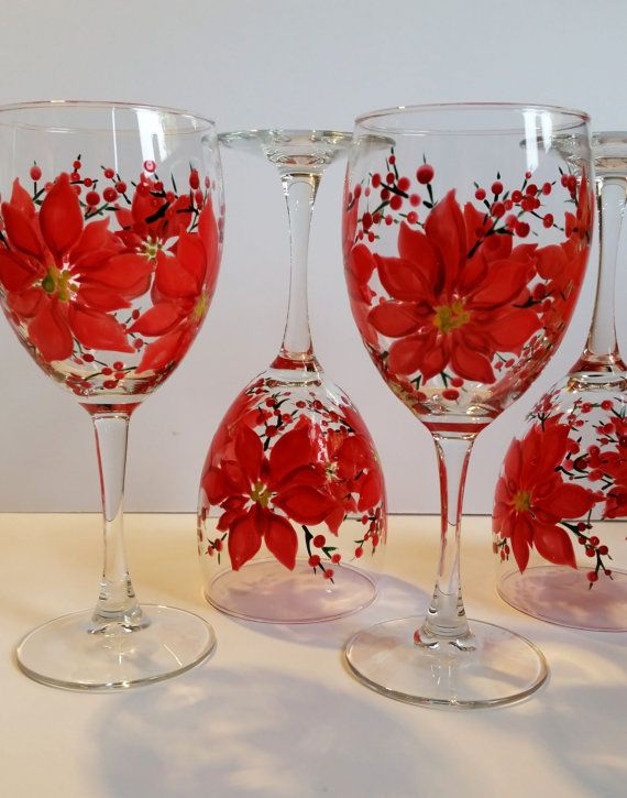 Wine Glasses- Hand Painted - Poinsettia Wine Glasses (set of 2)