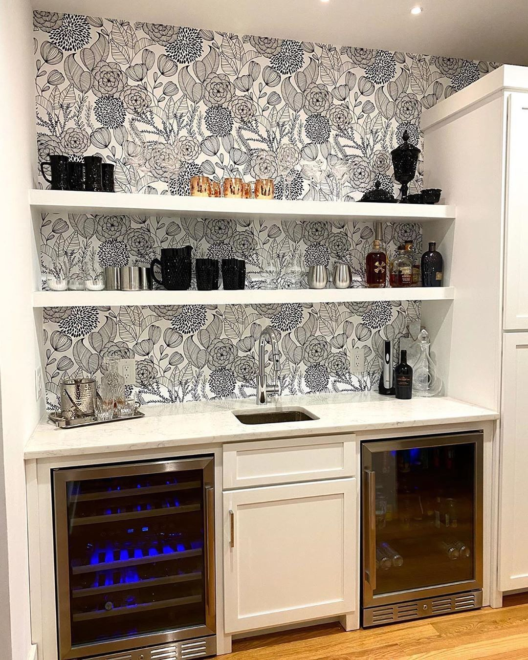 Black Secret Garden Peel And Stick Wallpaper Peel And Stick Wallpaper Black Bar Cabinet Home
