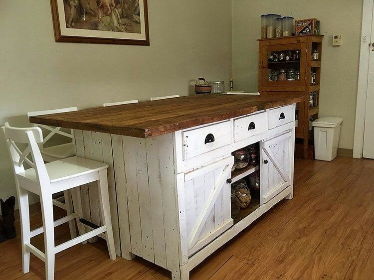 Pallet Kitchen Island Table Or Cabinet With Sliding Doors Pallet