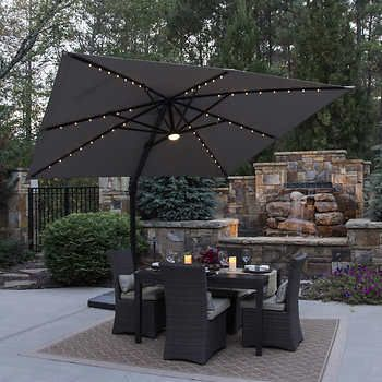 10 Led Solar Square Offset Umbrella By Seasons Sentry Offset Patio Umbrella Rooftop Patio Design Patio Umbrellas