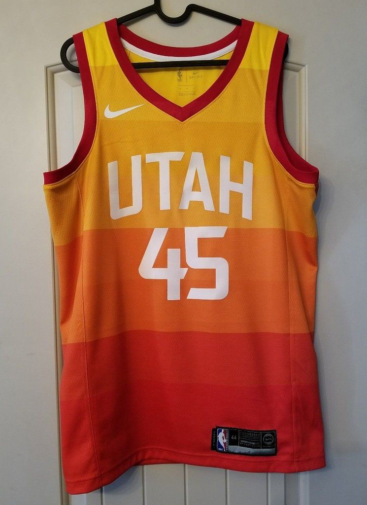 Men  45 Donovan Mitchell Jersey City edition Yellow Orange Utah Jazz jersey ae3b6f1c0