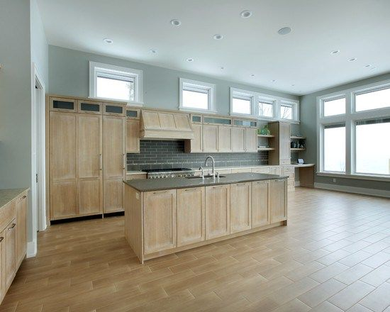 whitewashed oak cabinets home design photos shaped kitchen design ideas remodels photos matchstick tile cork - Matchstick Tile Home Design