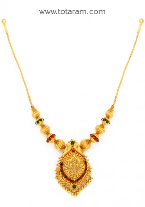 22K Gold Peacock Necklace Temple Jewellery Totaram Jewelers