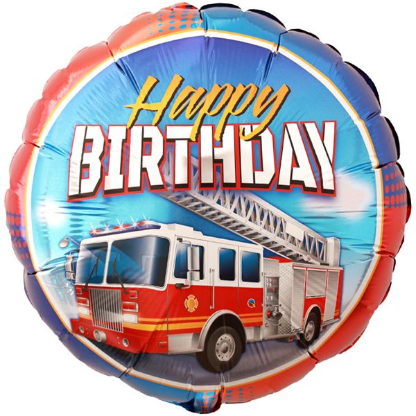 Fire Truck Happy Birthday Foil Balloon 18in With Images Happy
