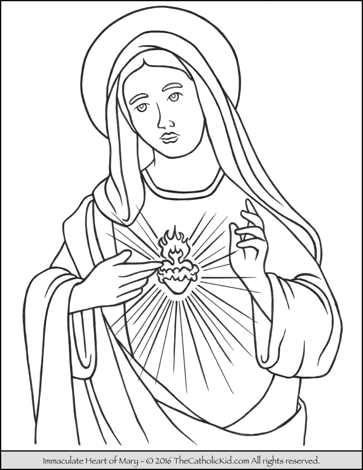 immaculate heart of mary catholic coloring page catholic