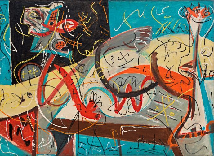 """Pollock's early work is a thrill ride of quick studies. """"Stenographic Figure"""" (c. 1942) eyes Picasso, Miró, and André Masson."""