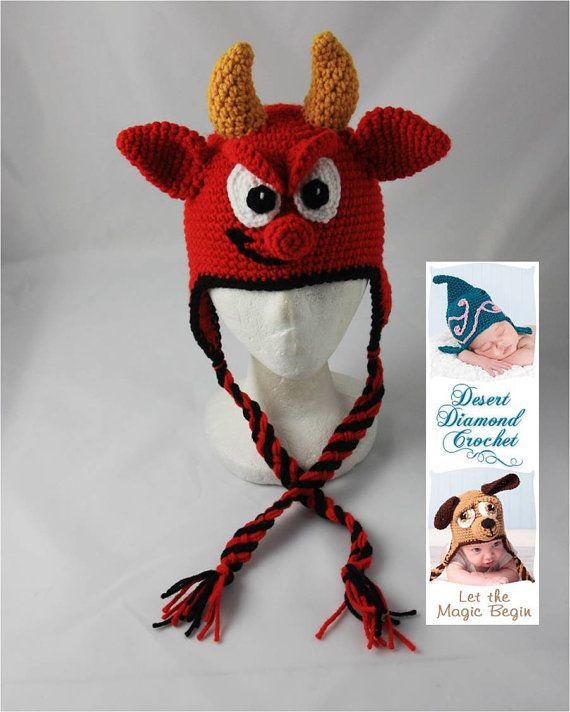 Crochet Pattern 054 Lil' Devil Earflap Hat All by desertdiamond