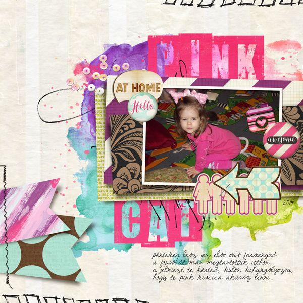 pink cat digital SB layout using Just Jaimees march storyteller.