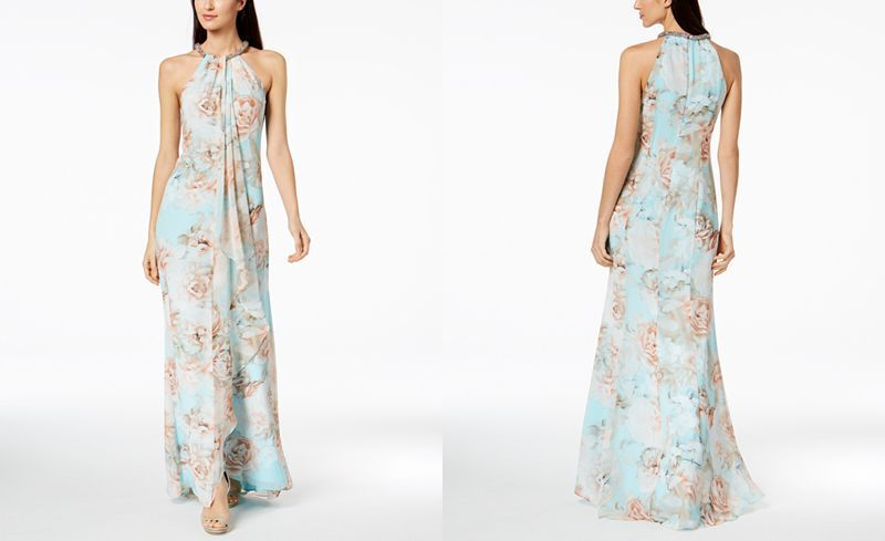 64a325692347 Calvin Klein Floral Draped Chiffon Halter Gown - Dresses - Women - Macy's