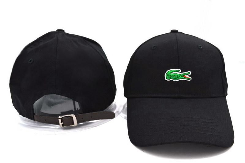 395ace33f56 Mens Lacoste Poly Croc Embroidery Logo Front Best Quality Cotton Fashion  Adjustable Leather Strap Back Cap - Black