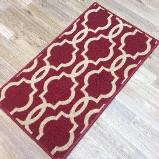 "Rubber Back Non-Slip Mat 18"" x 32"" Fancy Moroccan Trellis Red & Cream Doormat Accent Rug - Rana Collection Kitchen Hallway Entry Pet High Traffic Rug RAN2040-12"
