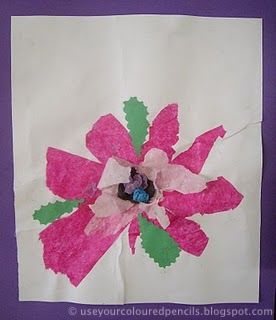 Use Your Coloured Pencils Tissue Paper Flower Collages Flower