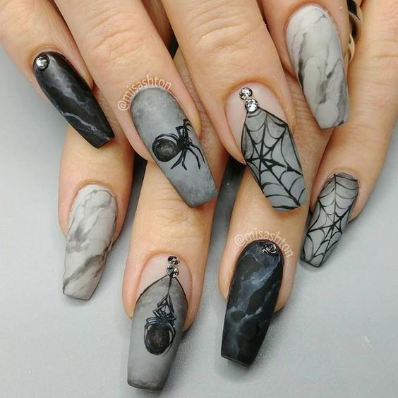 Unique And Creative Halloween Nail Design Acrylic Halloween Nail Almond Halloween Nail Coffin Hallow Halloween Acrylic Nails Gothic Nails Coffin Shape Nails
