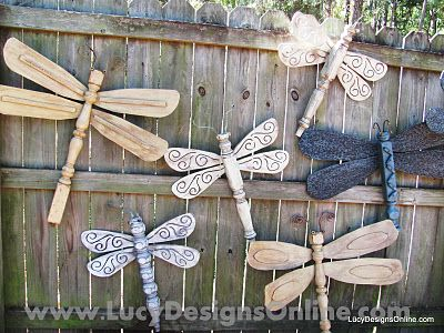 Dragonflies made from ceiling fan blades and table legs