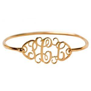 Monogramas E Iniciales Monograms Cutout Monogram Sterling Gold Vermeil Bracelet
