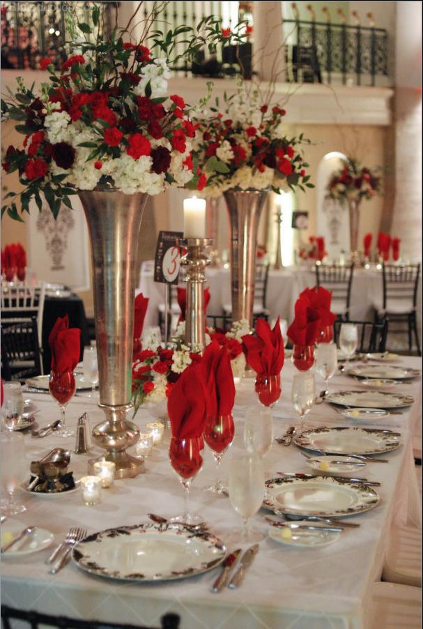 Noche De Gala Table Setting Red Black And White Color Scheme