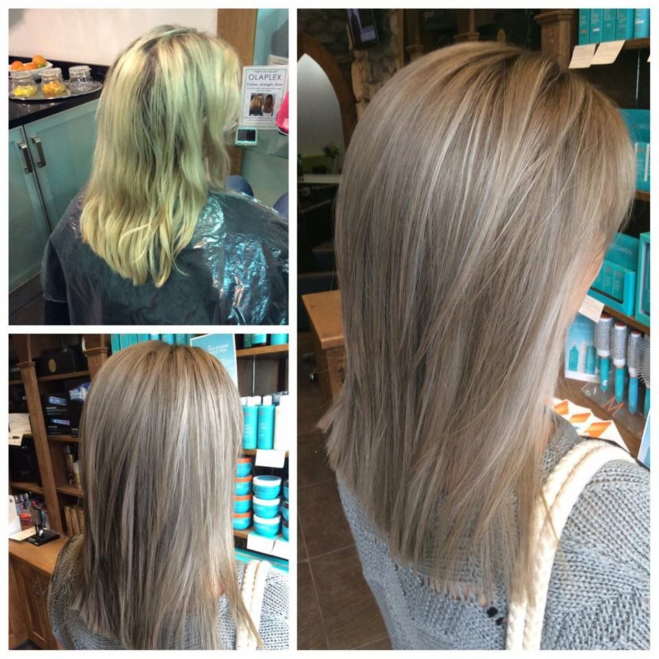 From Yellow Blonde To A Softer Natural Ashy Light Brown With Soft White Grey Highlights Great For Softening In Hair