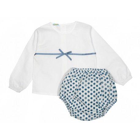 865631a04 Ranita de lunares azul con blusa de bebé Paloma de la O
